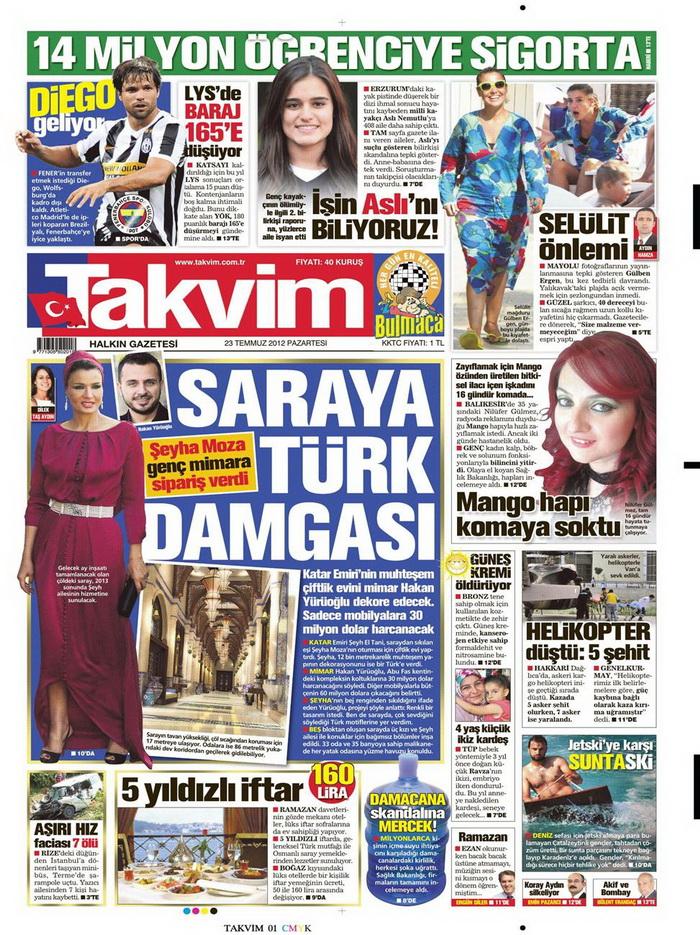 Gazete Manşetleri - 23 Temmuz 2012 17