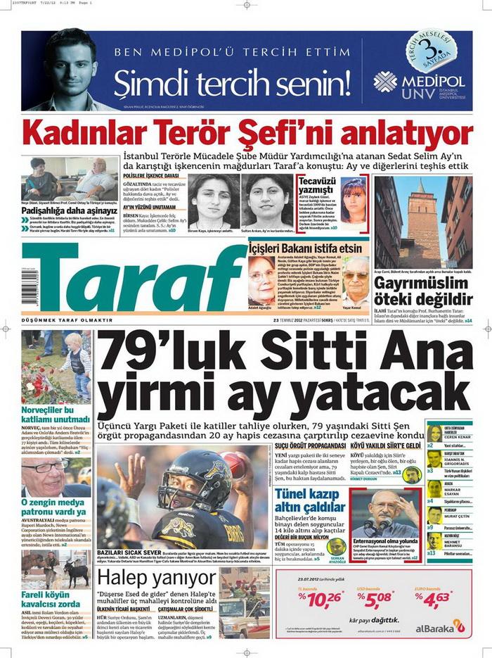 Gazete Manşetleri - 23 Temmuz 2012 18