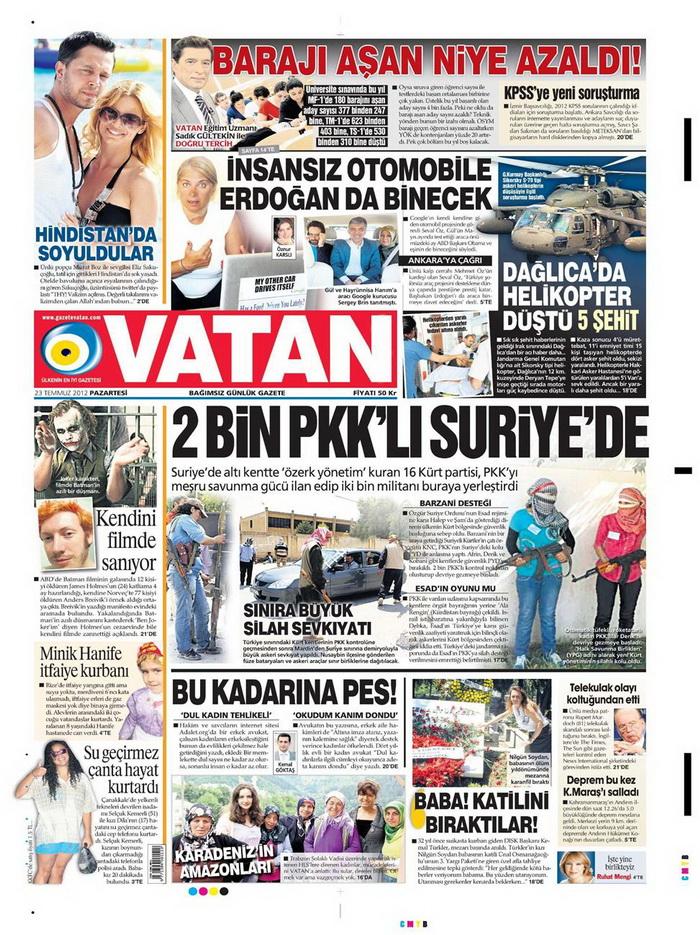 Gazete Manşetleri - 23 Temmuz 2012 21