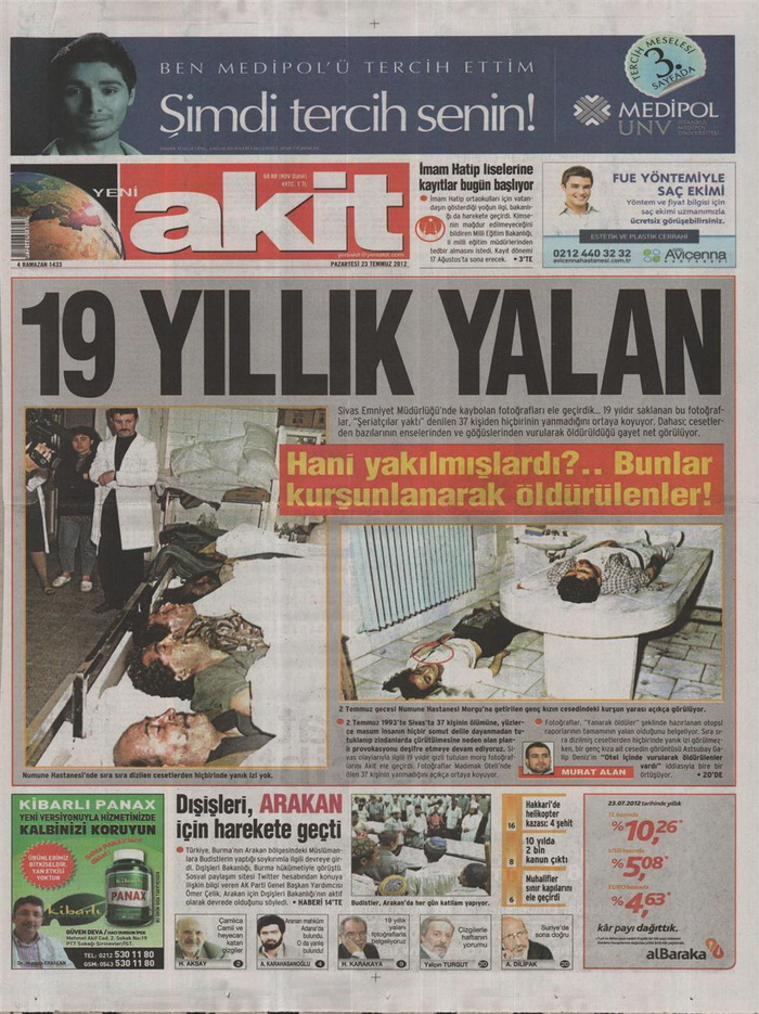 Gazete Manşetleri - 23 Temmuz 2012 22