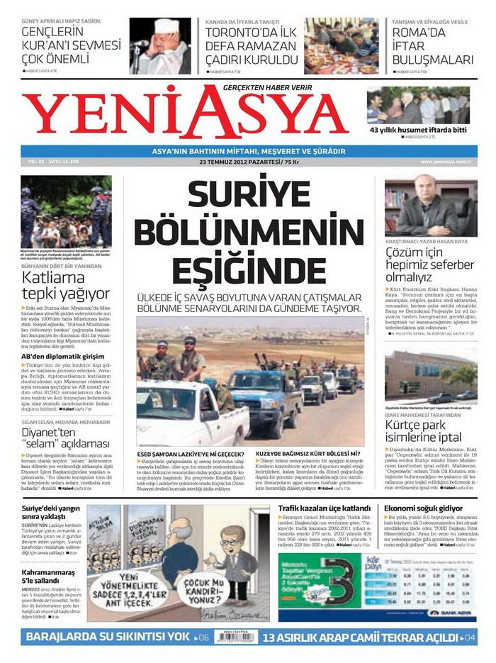 Gazete Manşetleri - 23 Temmuz 2012 23