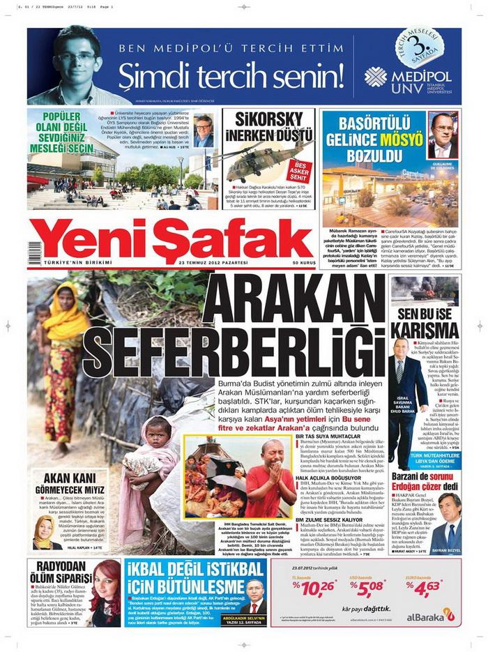Gazete Manşetleri - 23 Temmuz 2012 24