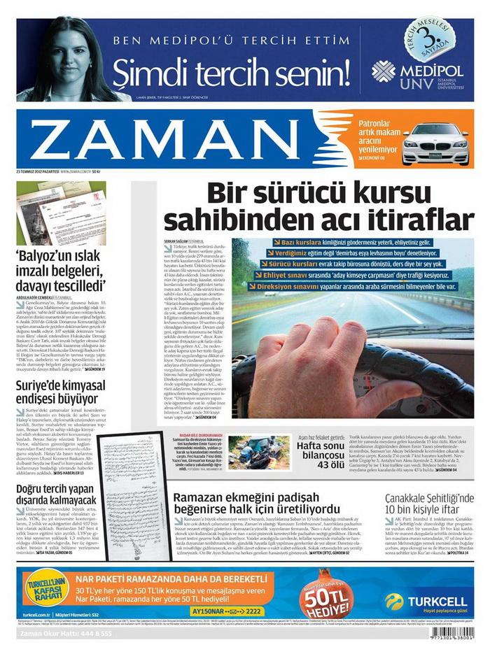 Gazete Manşetleri - 23 Temmuz 2012 25