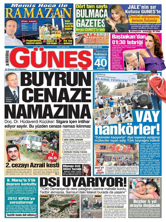 Gazete Manşetleri - 23 Temmuz 2012 5