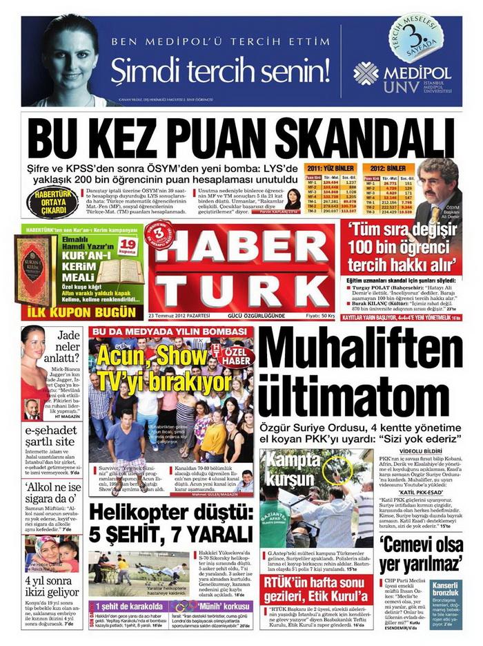 Gazete Manşetleri - 23 Temmuz 2012 6