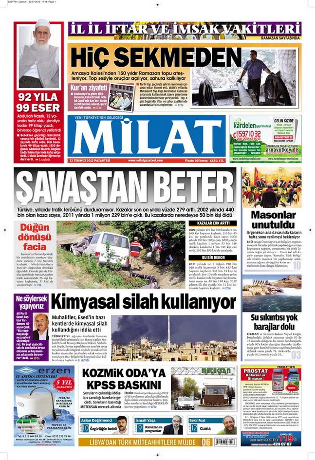 Gazete Manşetleri - 23 Temmuz 2012 8