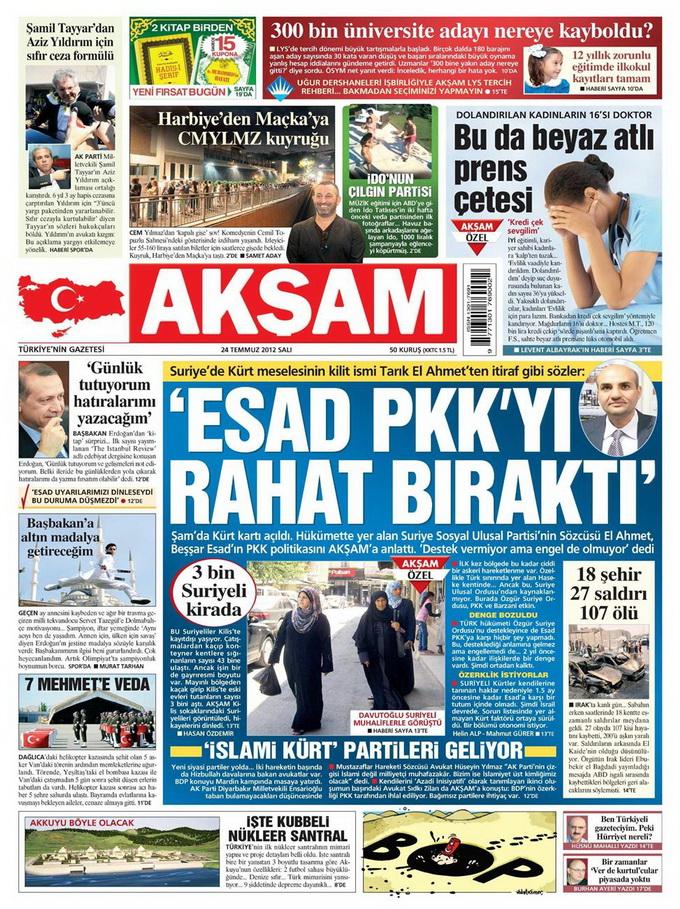Gazete Manşetleri - 24 Temmuz 2012 galerisi resim 1