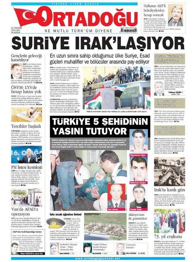 Gazete Manşetleri - 24 Temmuz 2012 10