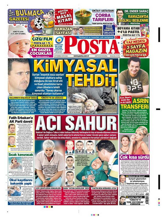 Gazete Manşetleri - 24 Temmuz 2012 11
