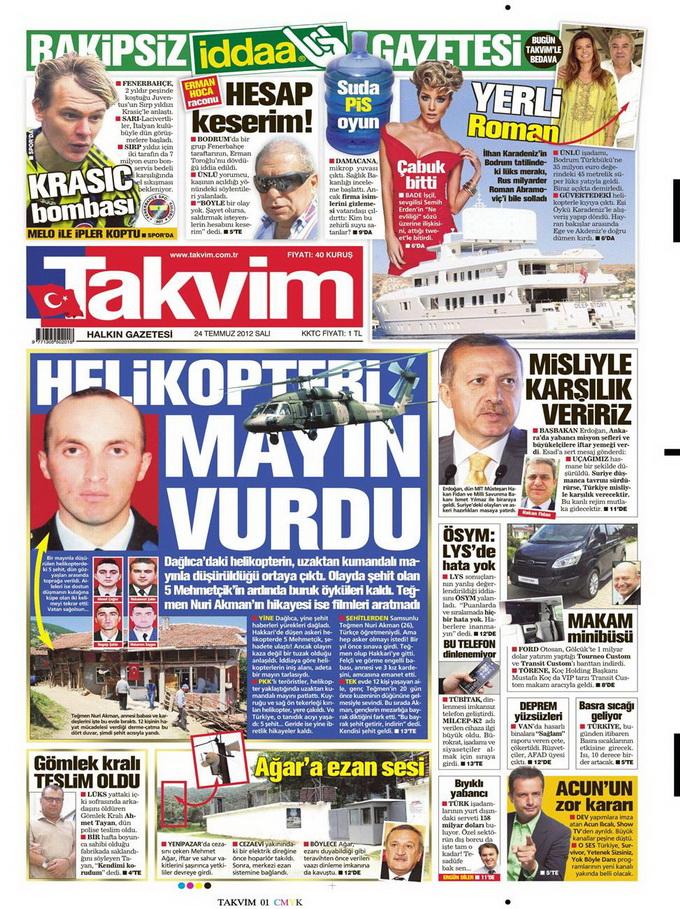 Gazete Manşetleri - 24 Temmuz 2012 16