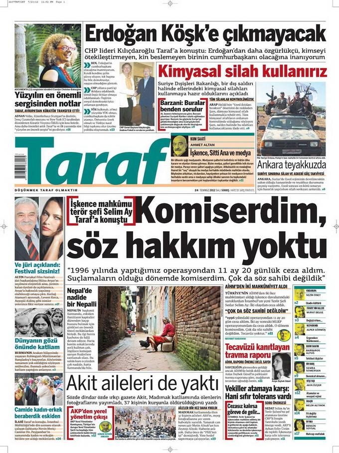 Gazete Manşetleri - 24 Temmuz 2012 17