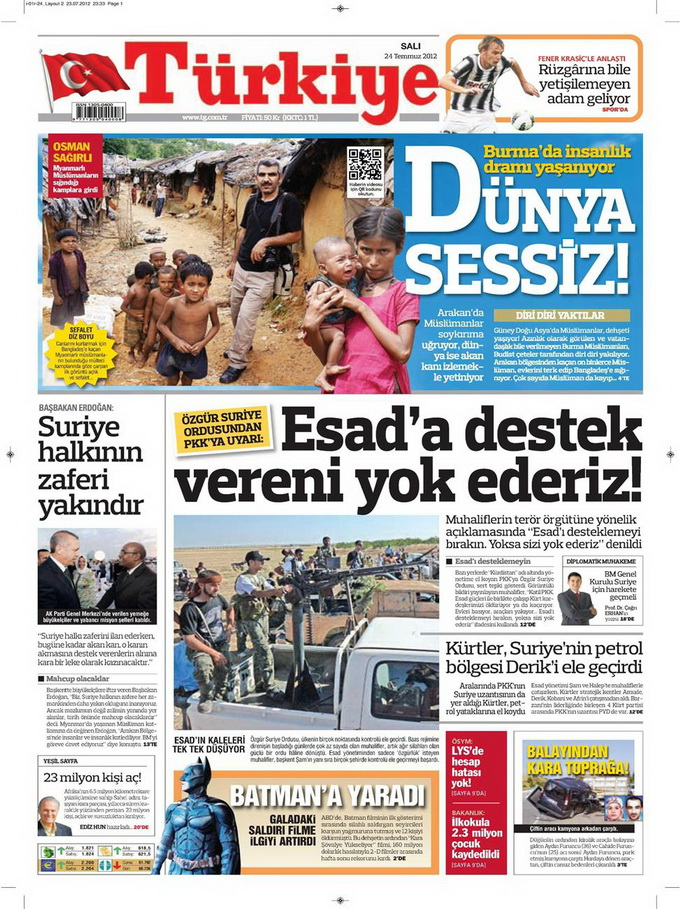 Gazete Manşetleri - 24 Temmuz 2012 18