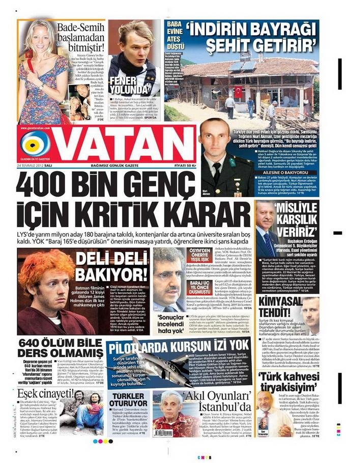 Gazete Manşetleri - 24 Temmuz 2012 20