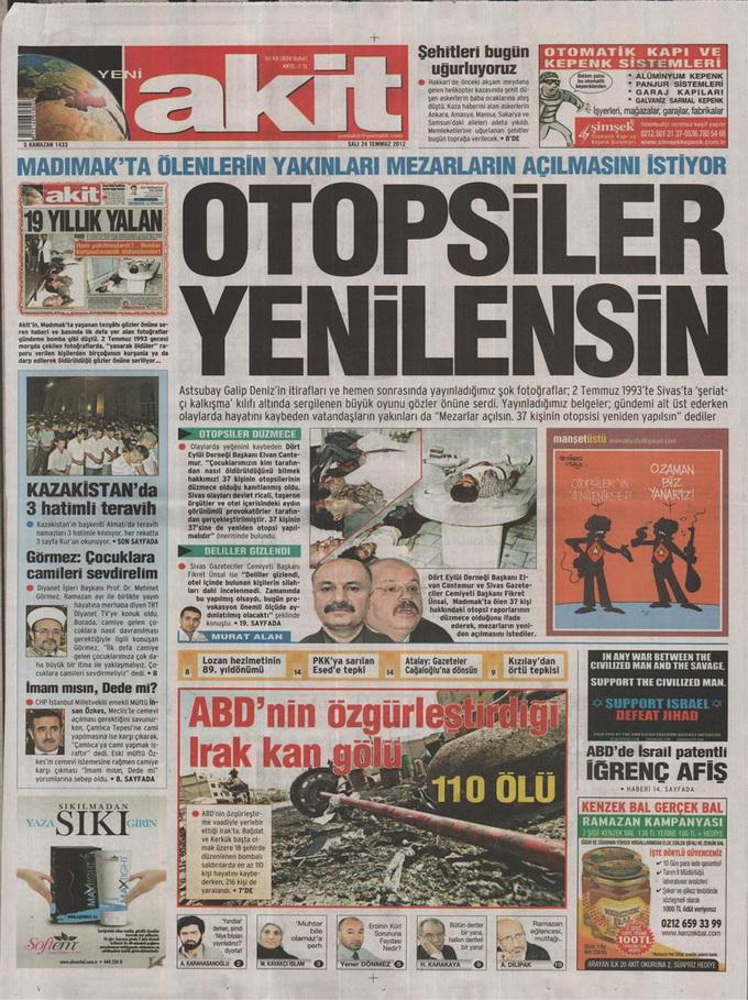 Gazete Manşetleri - 24 Temmuz 2012 21