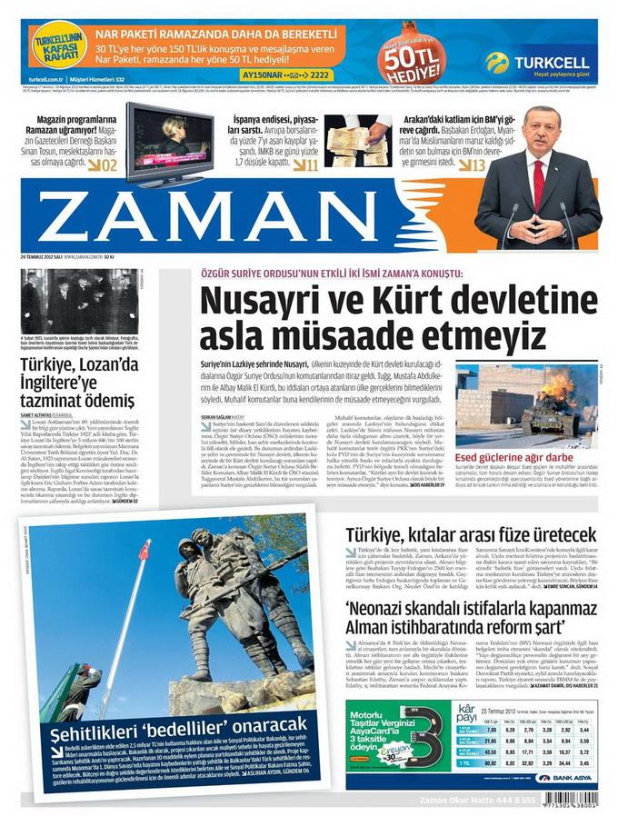 Gazete Manşetleri - 24 Temmuz 2012 24