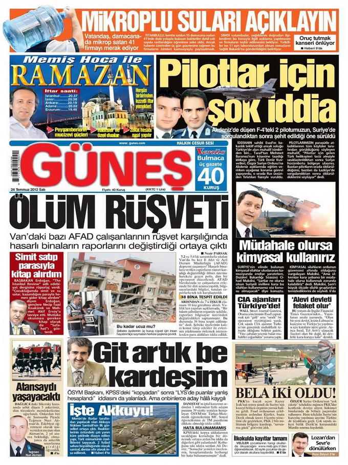 Gazete Manşetleri - 24 Temmuz 2012 5