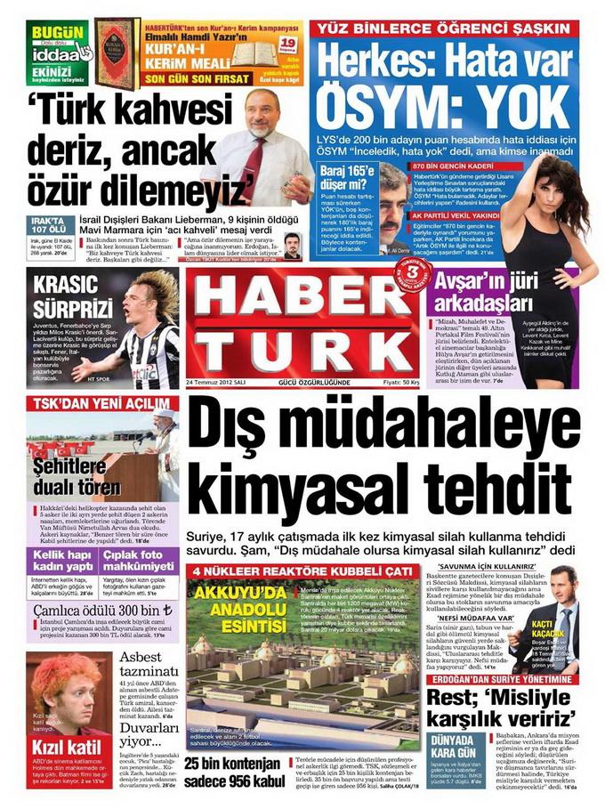 Gazete Manşetleri - 24 Temmuz 2012 6