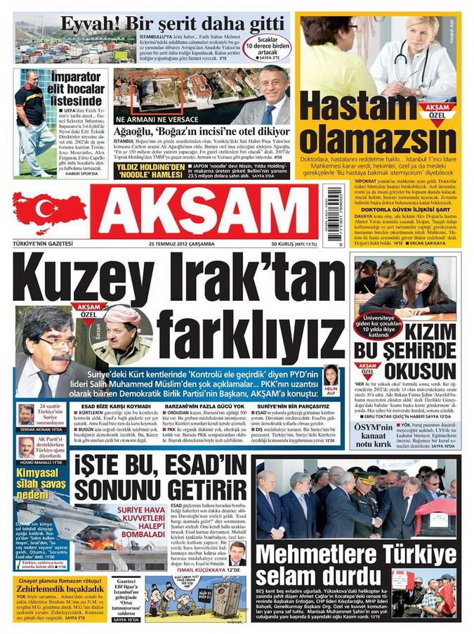 Gazete Manşetleri - 25 Temmuz 2012 1