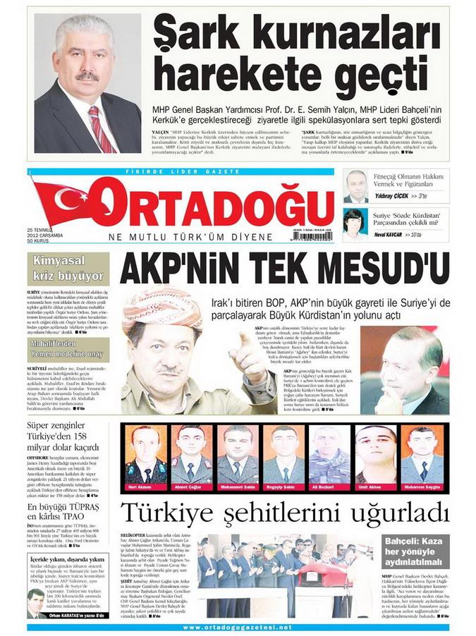 Gazete Manşetleri - 25 Temmuz 2012 11