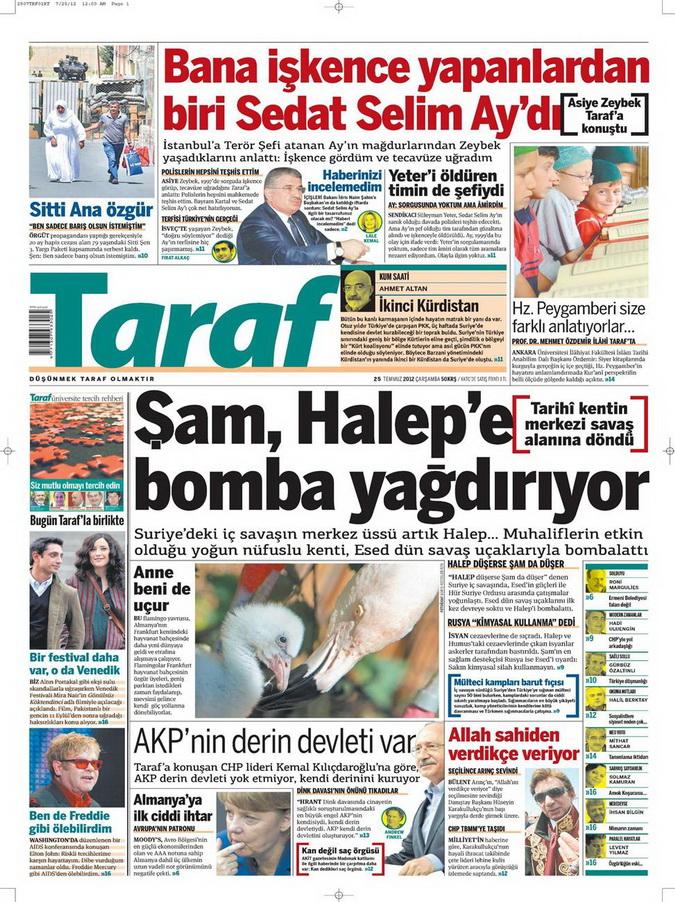 Gazete Manşetleri - 25 Temmuz 2012 18