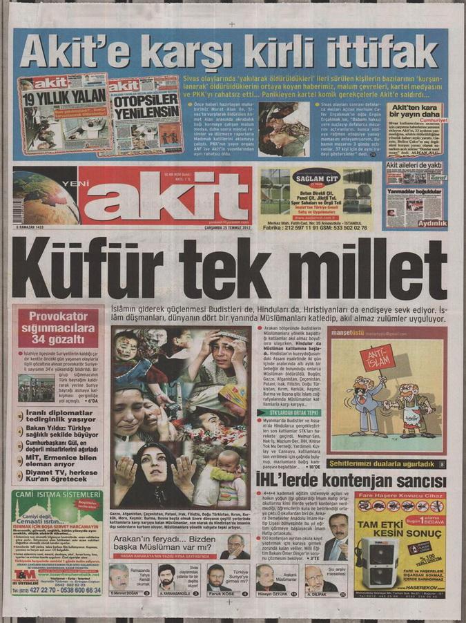 Gazete Manşetleri - 25 Temmuz 2012 22