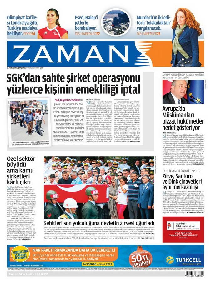 Gazete Manşetleri - 25 Temmuz 2012 25