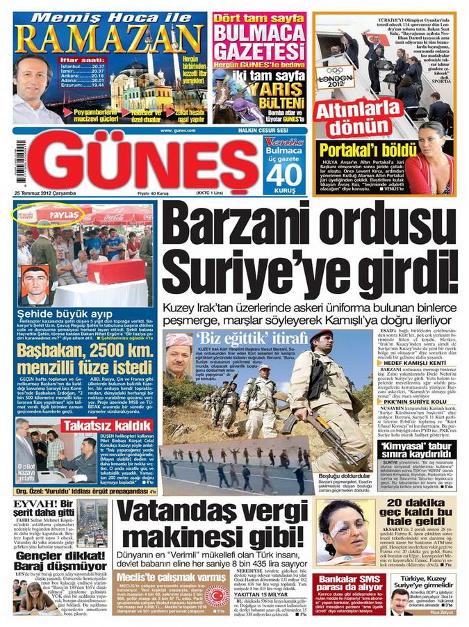 Gazete Manşetleri - 25 Temmuz 2012 5