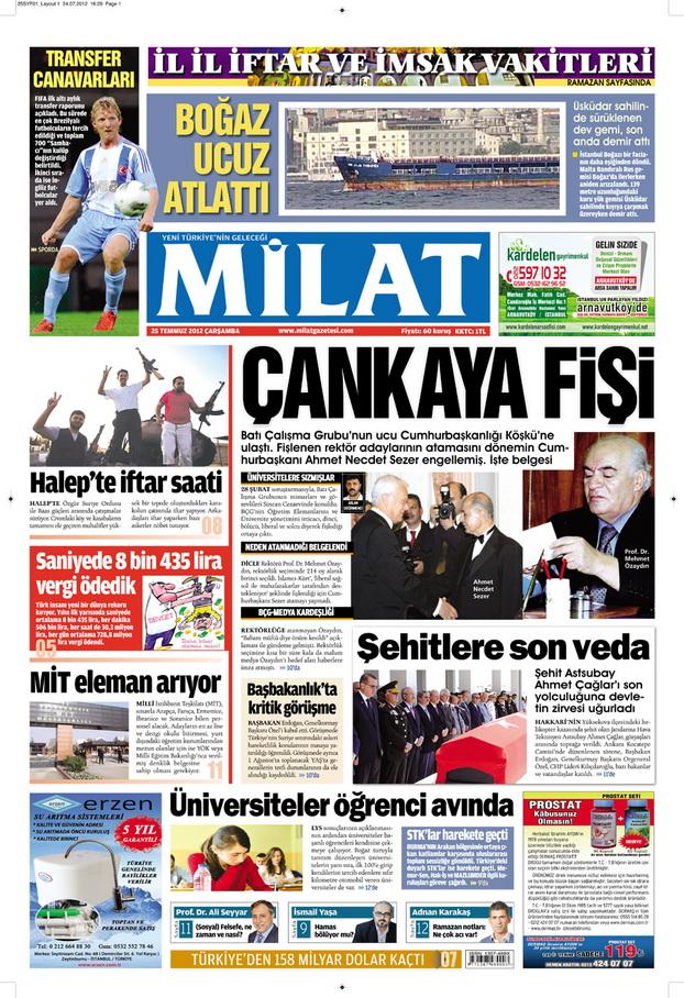 Gazete Manşetleri - 25 Temmuz 2012 8