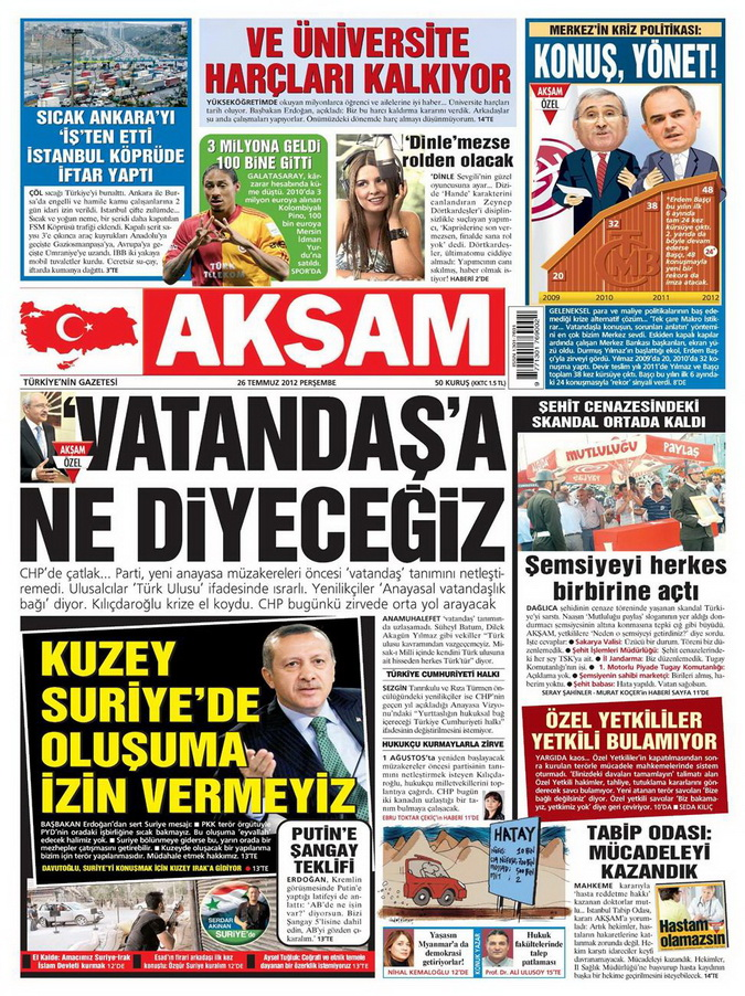 Gazete Manşetleri - 26 Temmuz 2012 galerisi resim 1