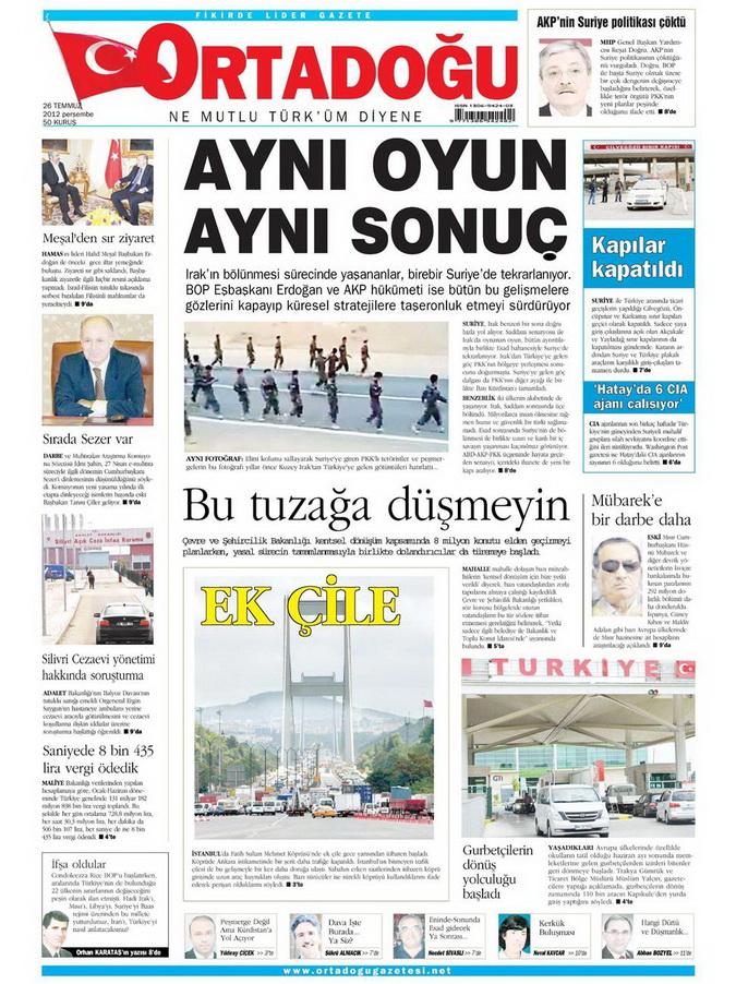 Gazete Manşetleri - 26 Temmuz 2012 11