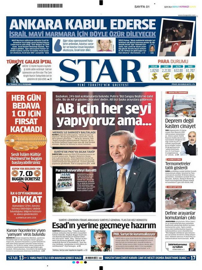 Gazete Manşetleri - 26 Temmuz 2012 16