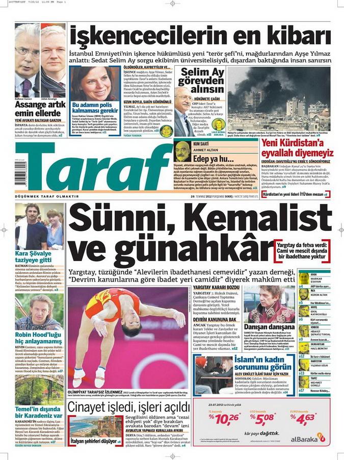 Gazete Manşetleri - 26 Temmuz 2012 18