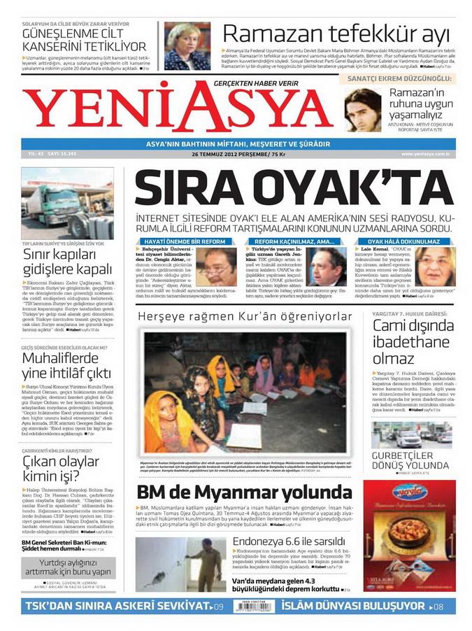 Gazete Manşetleri - 26 Temmuz 2012 23