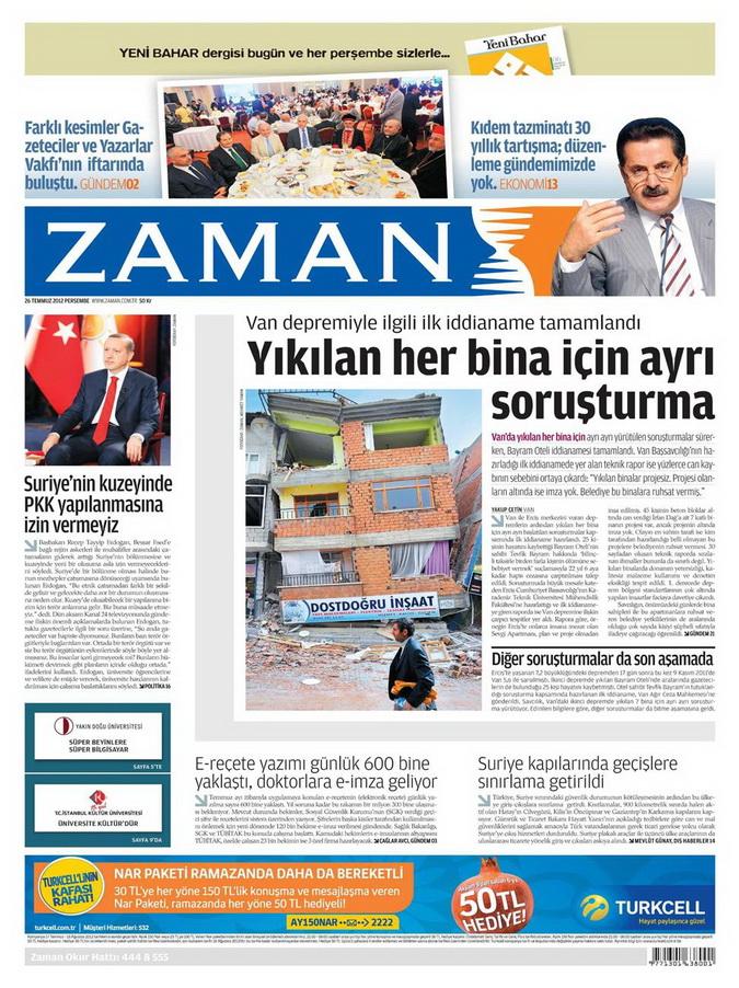 Gazete Manşetleri - 26 Temmuz 2012 25