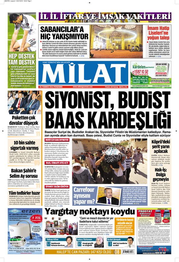 Gazete Manşetleri - 26 Temmuz 2012 8