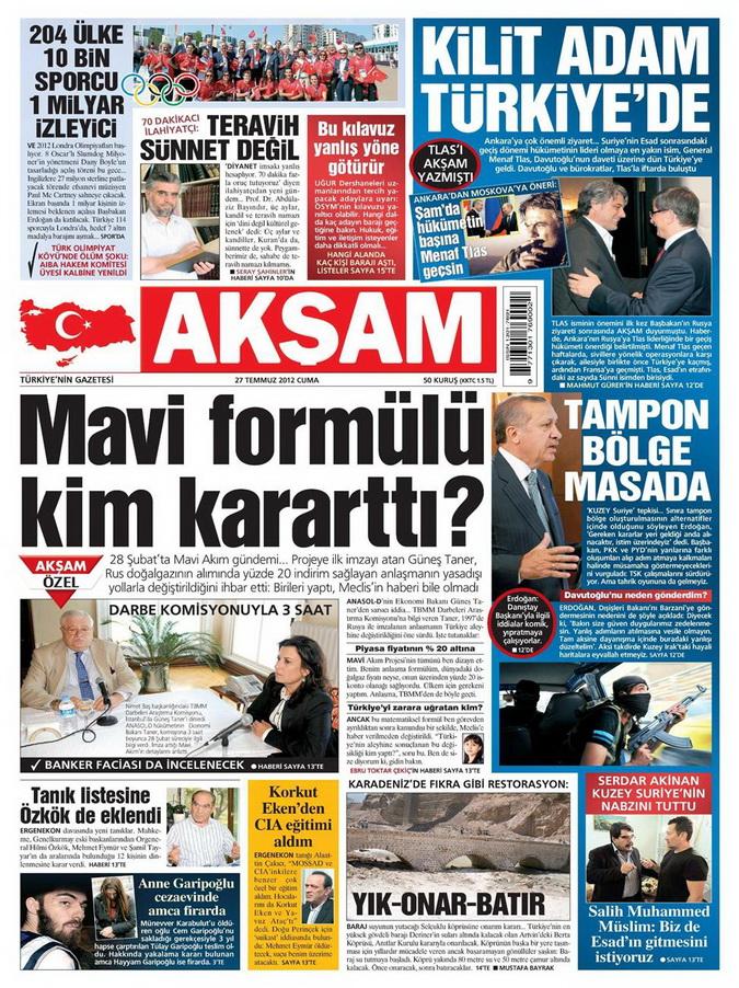 Gazete Manşetleri - 27 Temmuz 2012 1
