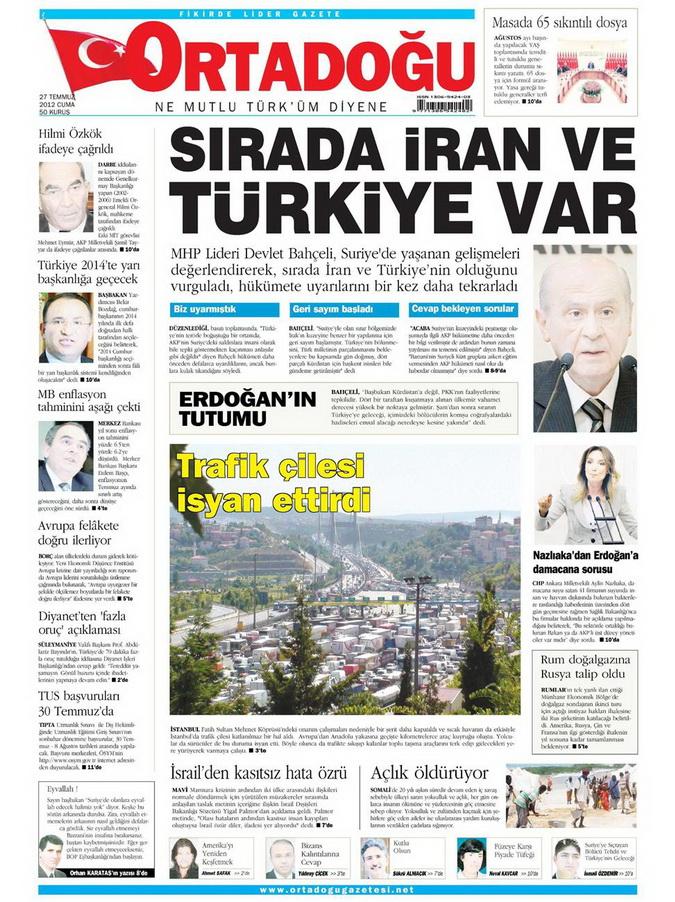 Gazete Manşetleri - 27 Temmuz 2012 10