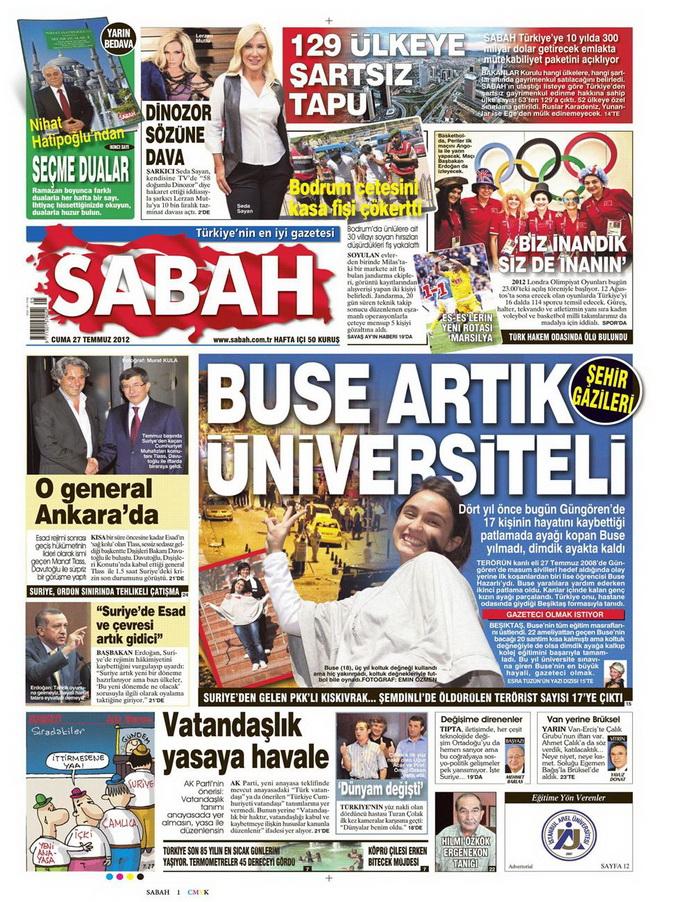 Gazete Manşetleri - 27 Temmuz 2012 12