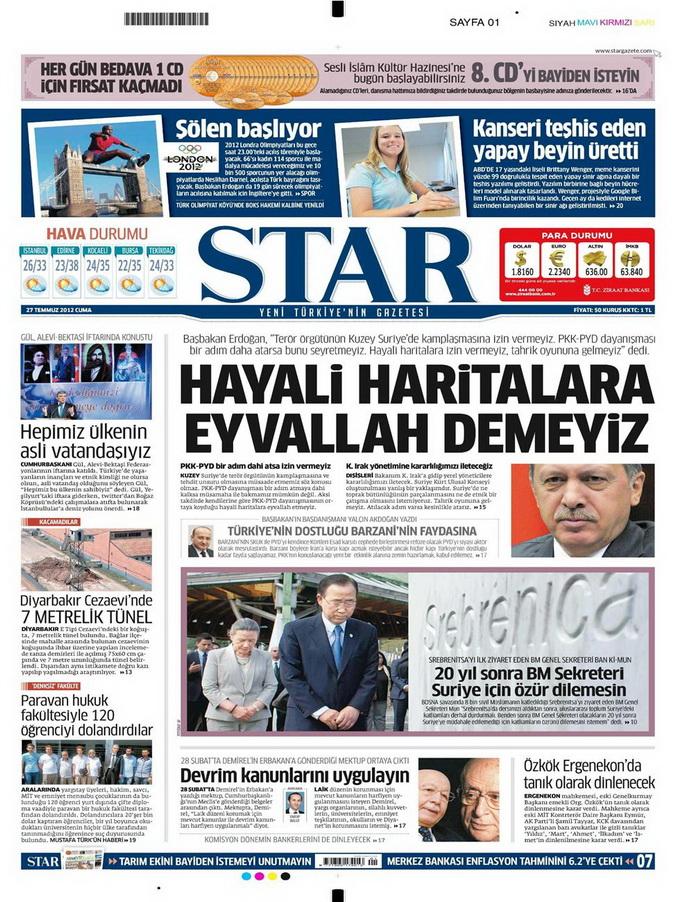 Gazete Manşetleri - 27 Temmuz 2012 14
