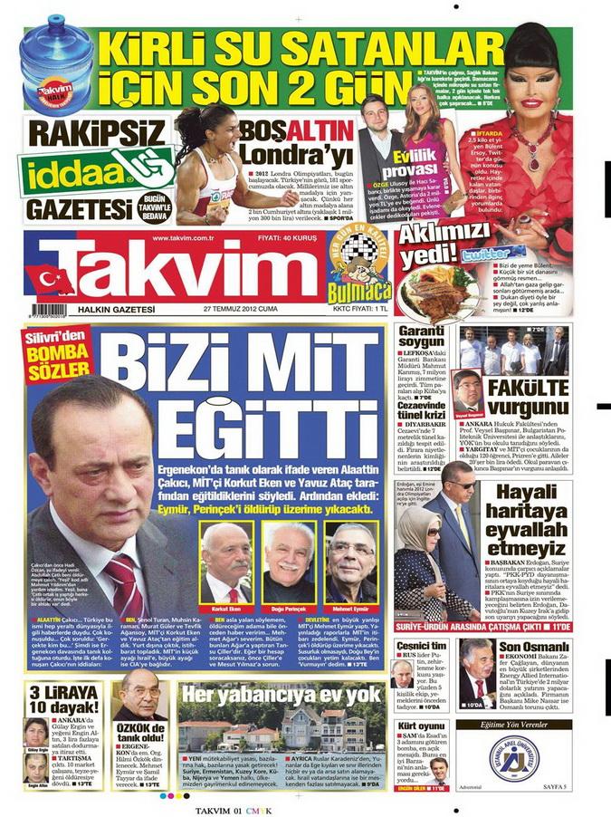 Gazete Manşetleri - 27 Temmuz 2012 15