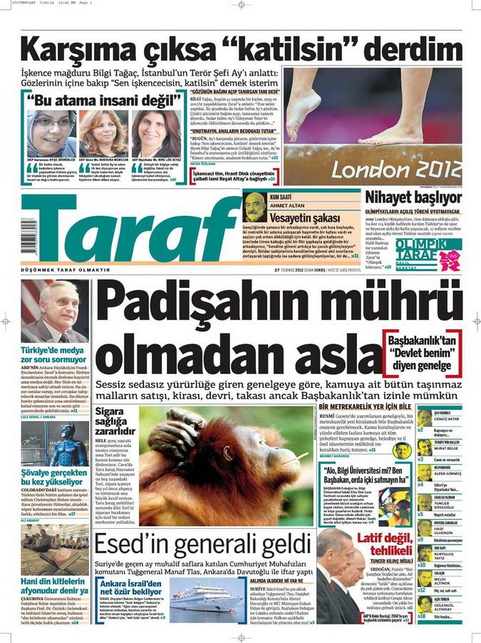 Gazete Manşetleri - 27 Temmuz 2012 16