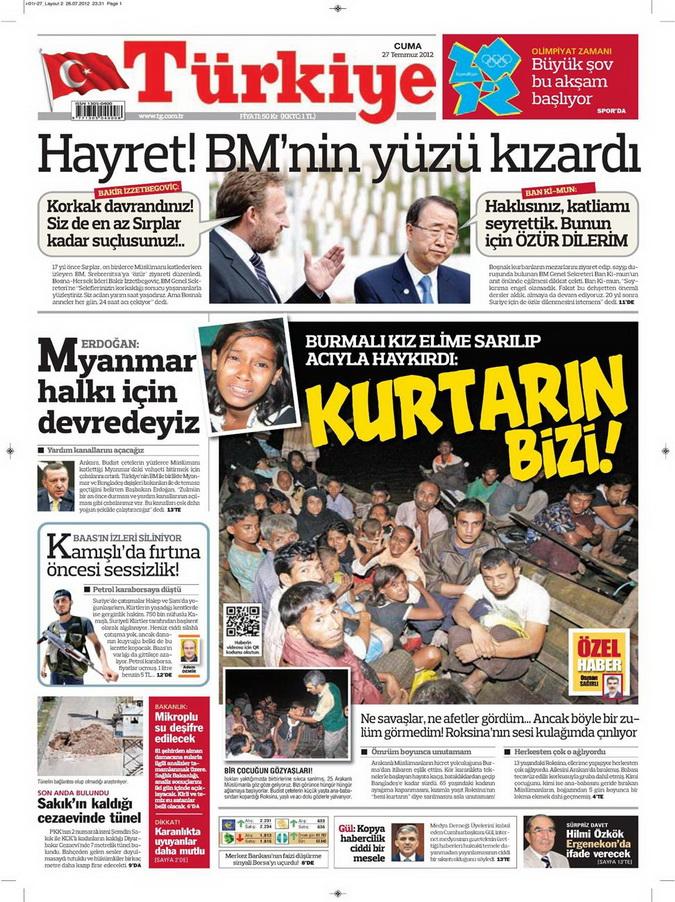 Gazete Manşetleri - 27 Temmuz 2012 17