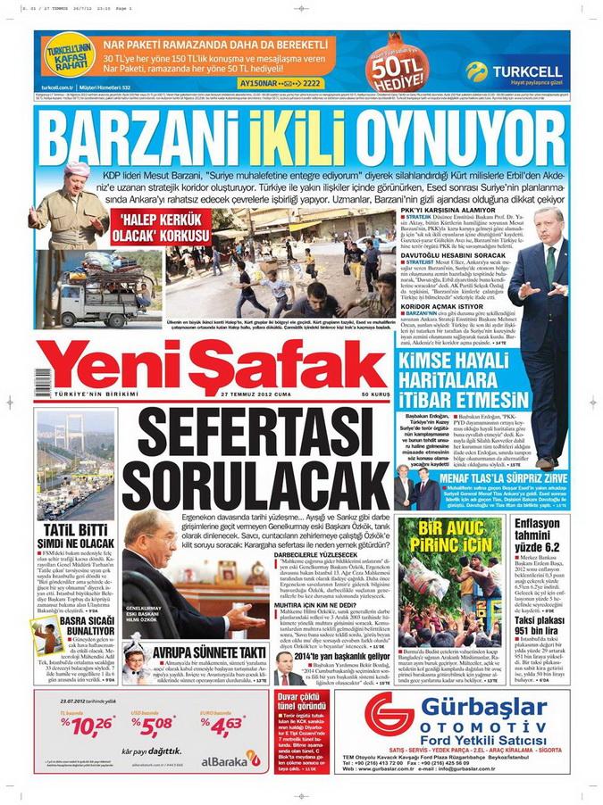 Gazete Manşetleri - 27 Temmuz 2012 22