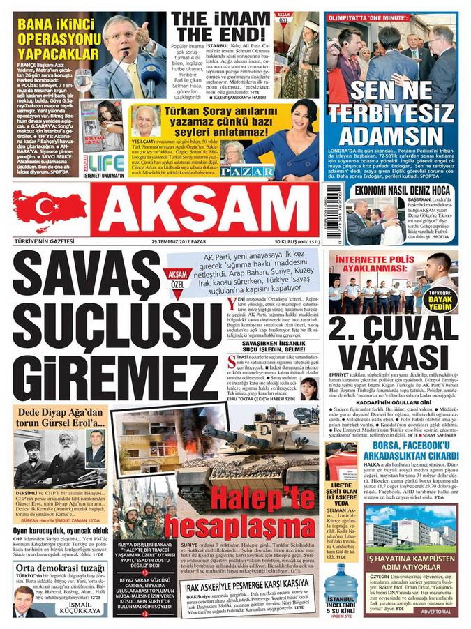 Gazete Manşetleri - 29 Temmuz 2012 1