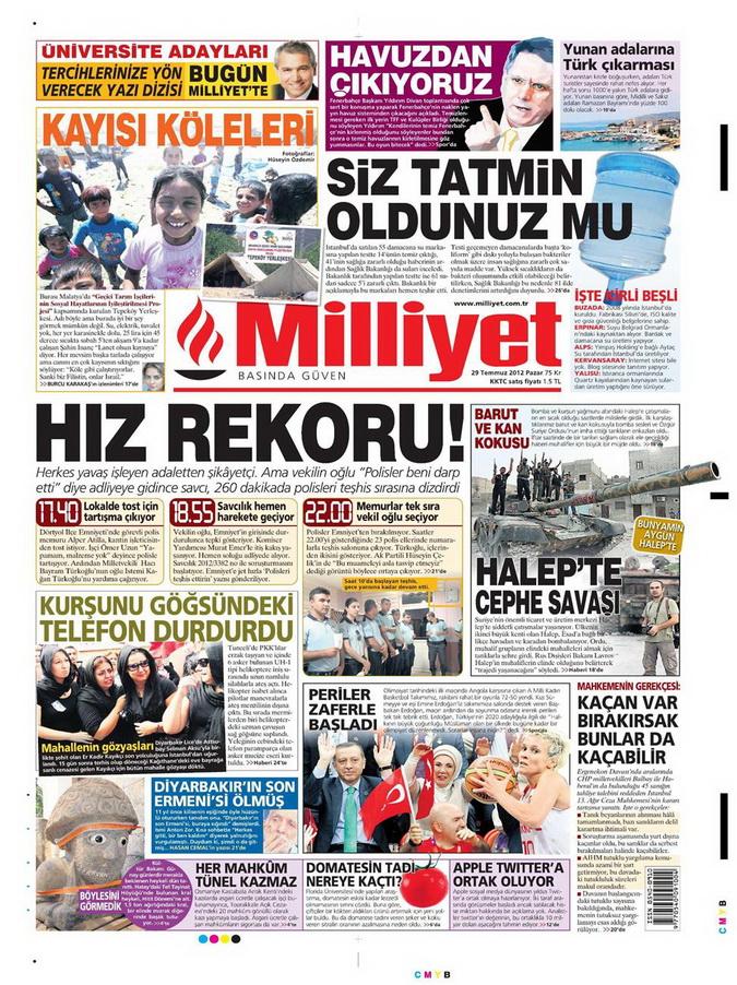 Gazete Manşetleri - 29 Temmuz 2012 10
