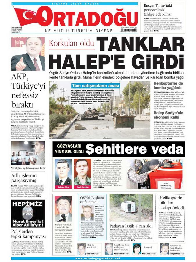 Gazete Manşetleri - 29 Temmuz 2012 11