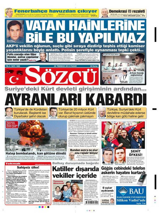 Gazete Manşetleri - 29 Temmuz 2012 15