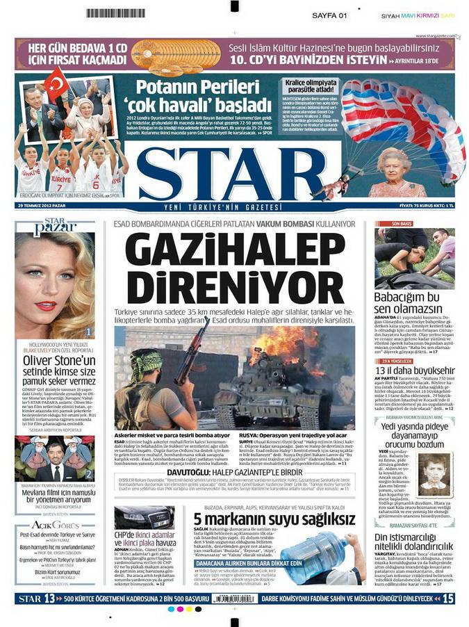 Gazete Manşetleri - 29 Temmuz 2012 16