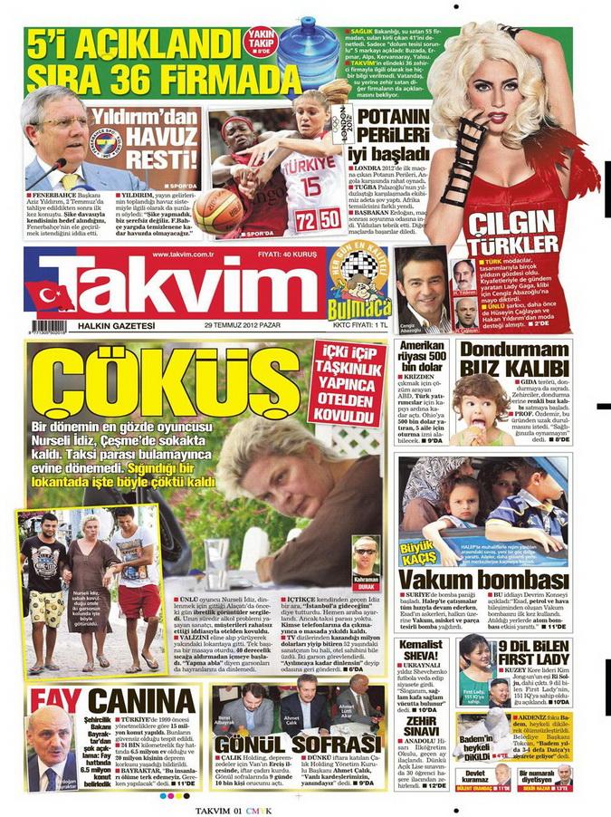 Gazete Manşetleri - 29 Temmuz 2012 17