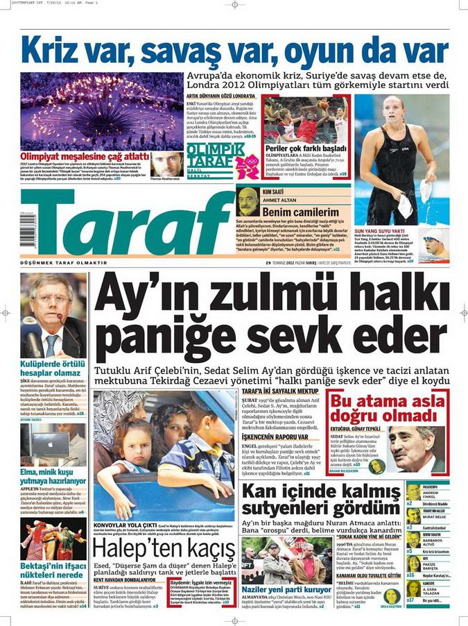 Gazete Manşetleri - 29 Temmuz 2012 18